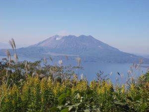 峠から見える桜島、絶景
