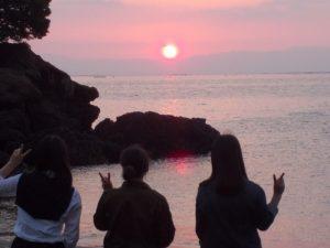 錦江湾に沈む夕日にうっとり